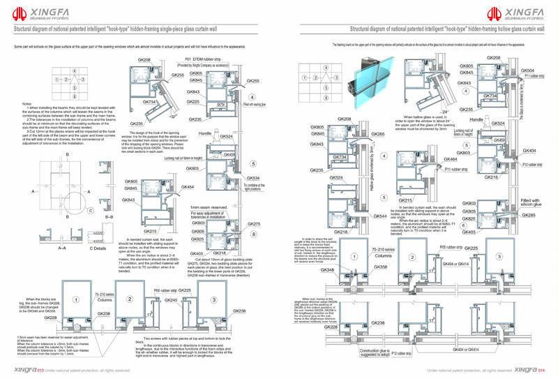 C013 C014 - Bản vẽ CAD hệ tường kính
