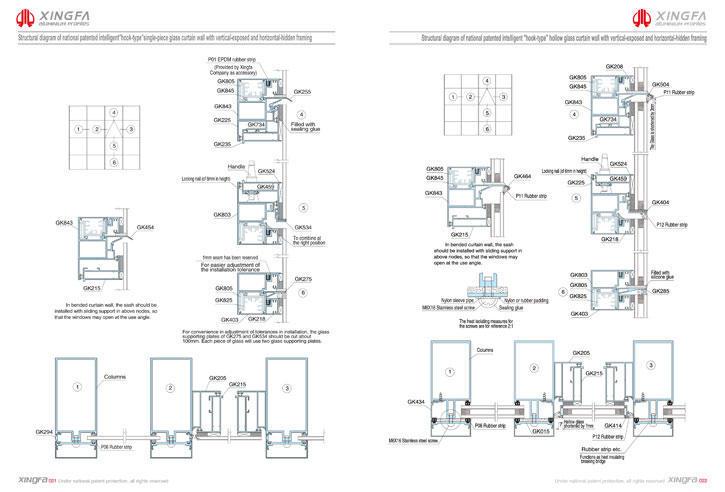 C021 C022 - Bản vẽ 3d chi tiết tường kính nổi đố
