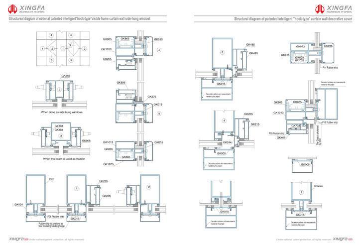 C029 C030 - Bản vẽ 3d chi tiết tường kính nổi đố