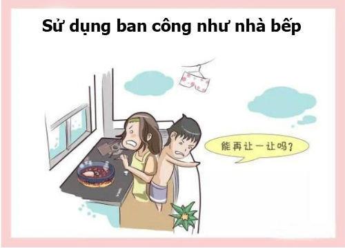 Sử dụng ban công như nhà bếp lửa sẽ dễ bị tắt do gió