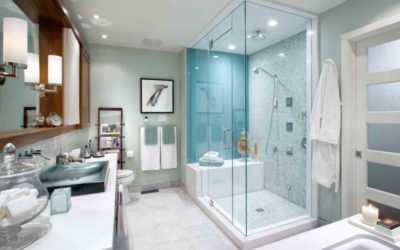 Vách kính tắm giúp không gian khách sạn thêm sang trọng